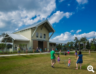 Residents enjoy the pool barn at Harper's Preserve